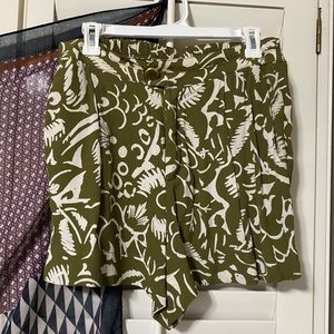 green and white anthro shorts